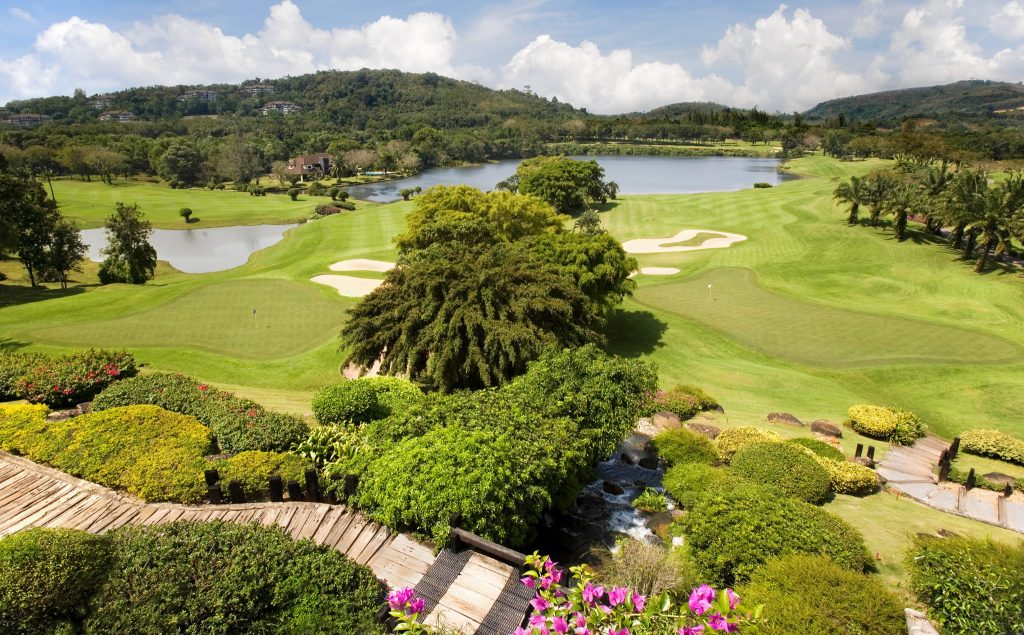 blue canyon country club phuket 9th and 18th green from the clubhouse