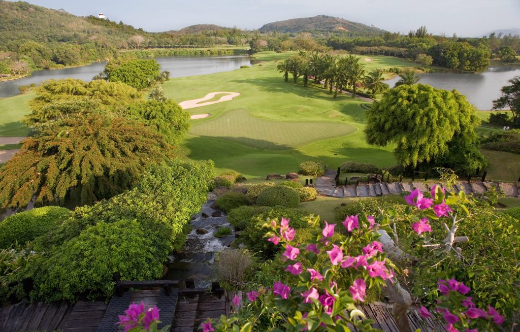 blue canyon country club phuket thailand clubhouse waterfall